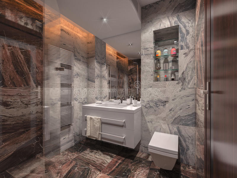 Bathroom in gray and brown stone with white bathroom. Bathroom in stone with white bathroom vector illustration