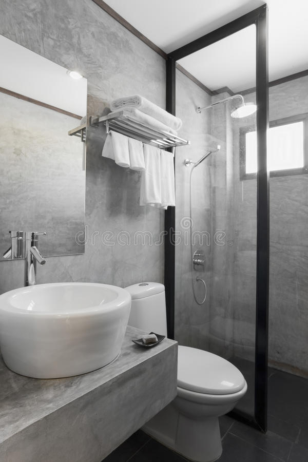 Merveilleux Download Bathroom With Gray Cement Wall Stock Photo   Image Of Lighting,  Design: 12045424