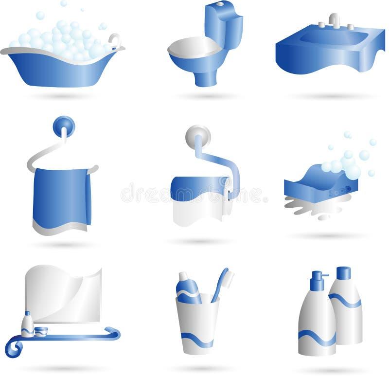 Bathroom icons stock illustration