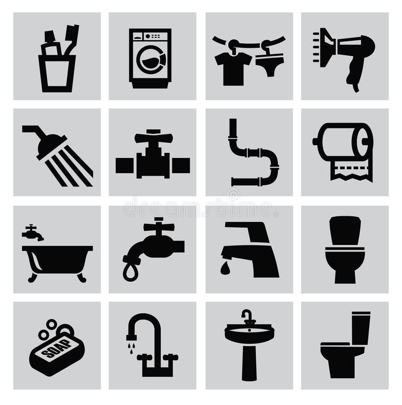 Free Bathroom Icons Royalty Free Stock Photography - 34069287