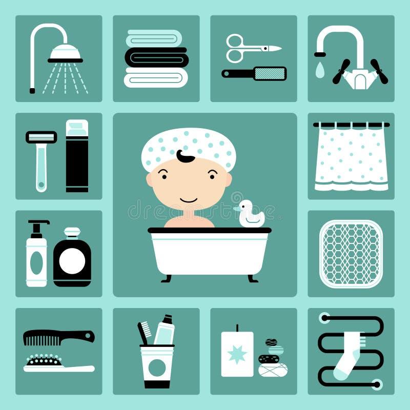 Free Bathroom Icons Stock Photography - 42743452
