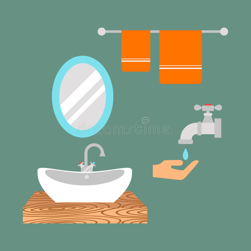 Bathroom icons colored set with process water savings symbols hygiene collection and clean household washing cleaning stock illustration