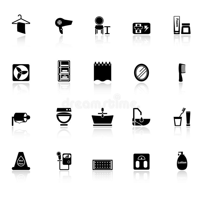 Bathroom Icons With Reflect On White Background Stock Photo