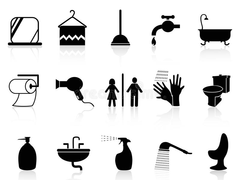 Download Bathroom icons set stock vector. Image of objects, pipe - 33588572
