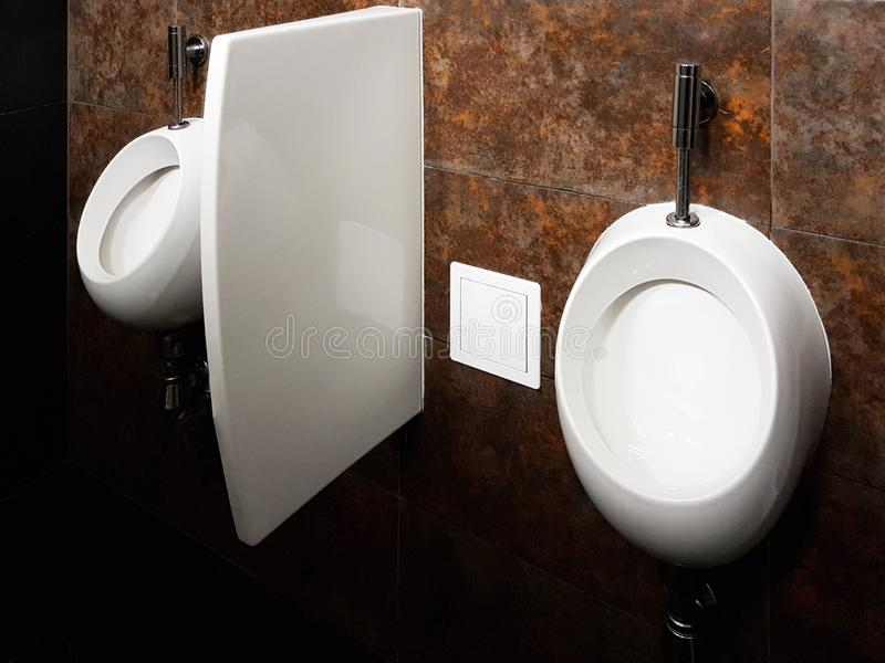 Bathroom interior in black and white. Oval ceramic urinal. Mirrors, plastic soap dish and chrome faucets for washing hands after a. Toilet. Design with dark stock photos