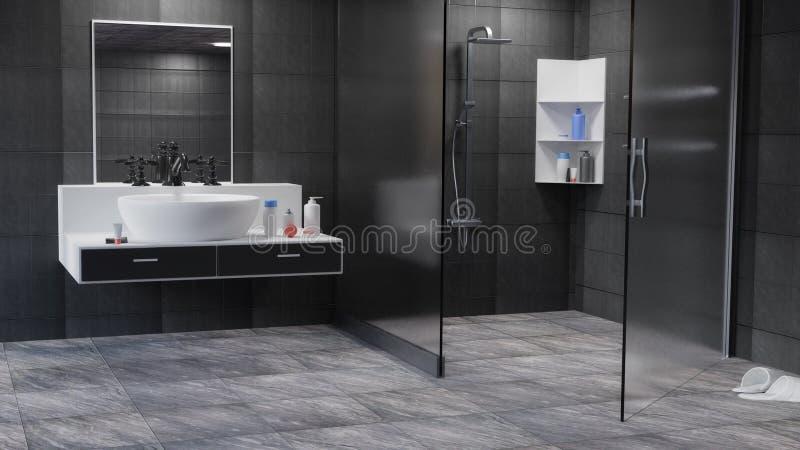 Bathroom Interior 3D Rendered illustration Background stock illustration