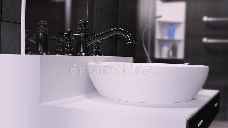Bathroom Interior 3D Rendered illustration Background vector illustration