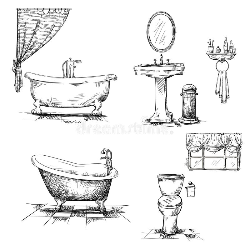 Line Artinya : Bathroom interior elements hand drawn bathtub t stock
