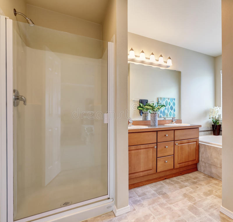 Bathroom interior with a shower and bath tub. Bathroom interior with glass door shower, bath tub view and small double sink vanity cabinet with a mirror royalty free stock image