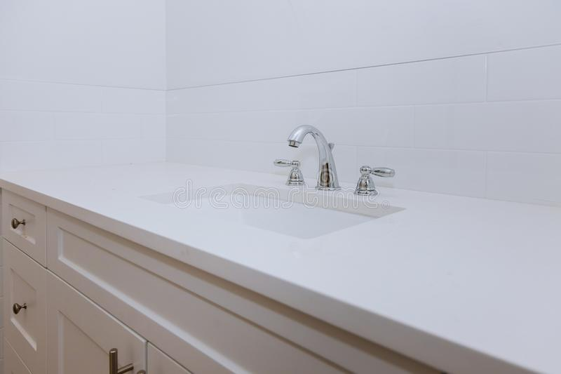 Bathroom interior with sink and faucet stock photos