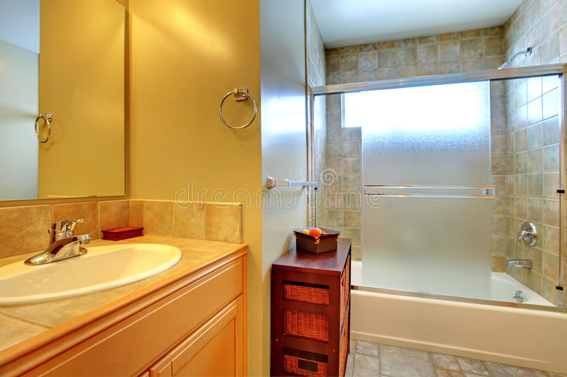 Bathroom interior with stone tile. royalty free stock photos