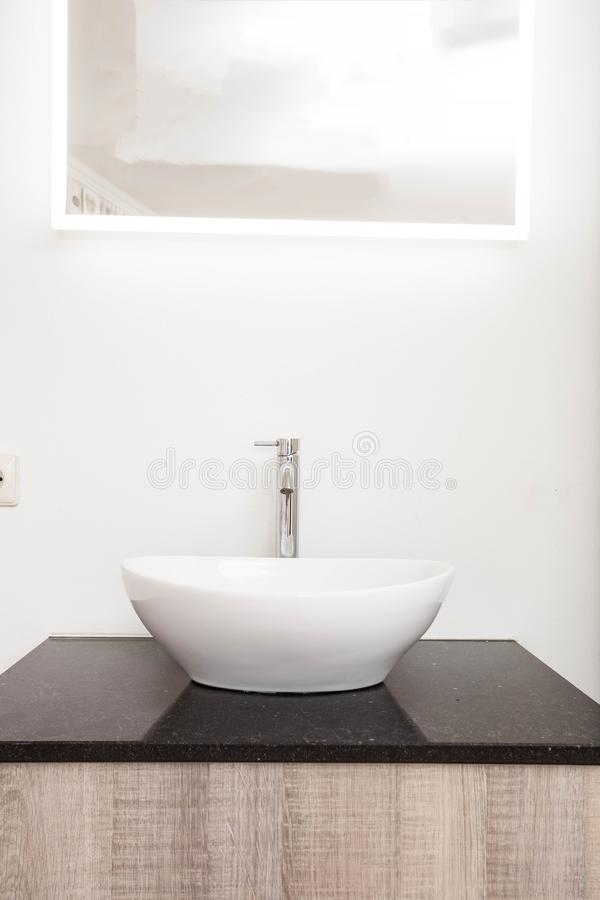 Bathroom interior with stylish white sink empty clean modern royalty free stock images