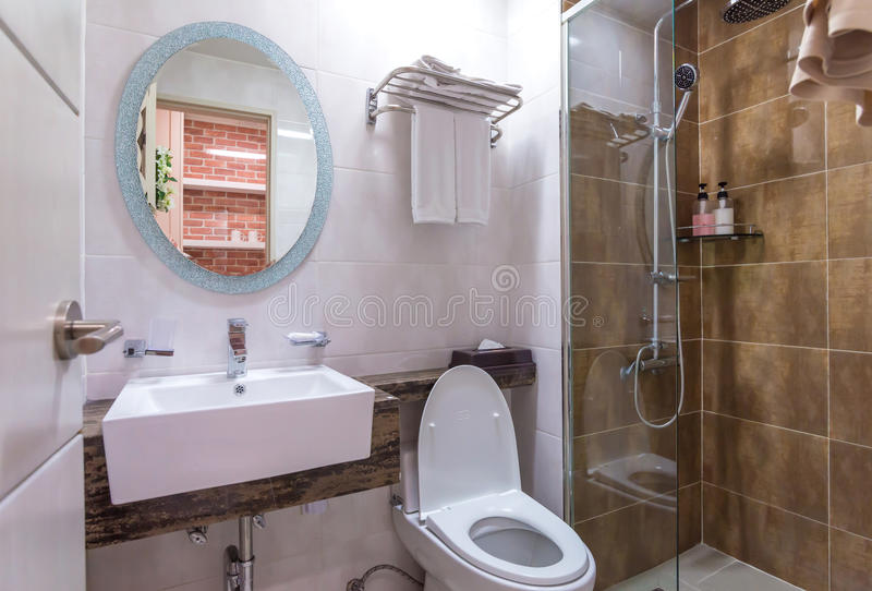 Bathroom interior and toilet in modern washroom stock images