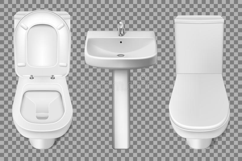 Bathroom interior toilet and washbasin realistic mockup. Closeup look at white toilet bowl and bathroom sink. 3d vector. Illustration isolated on transparent royalty free illustration