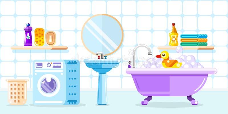Bathroom interior, vector flat style illustration. Baby shower toys, furniture, washing machine vector illustration