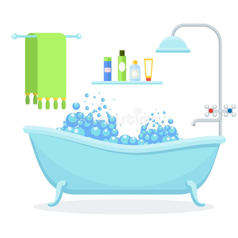 Bathroom interior on white. Flat vector cartoon illustration. Objects isolated on white background vector illustration