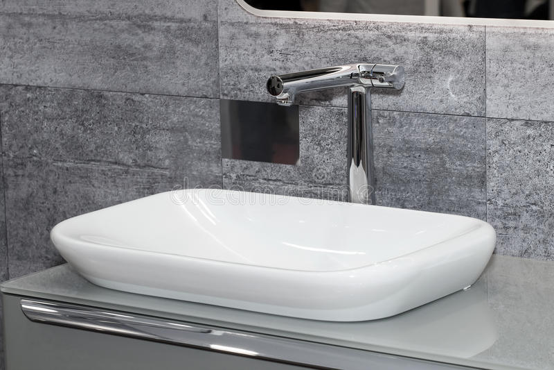 Bathroom interior with white sink stock photo