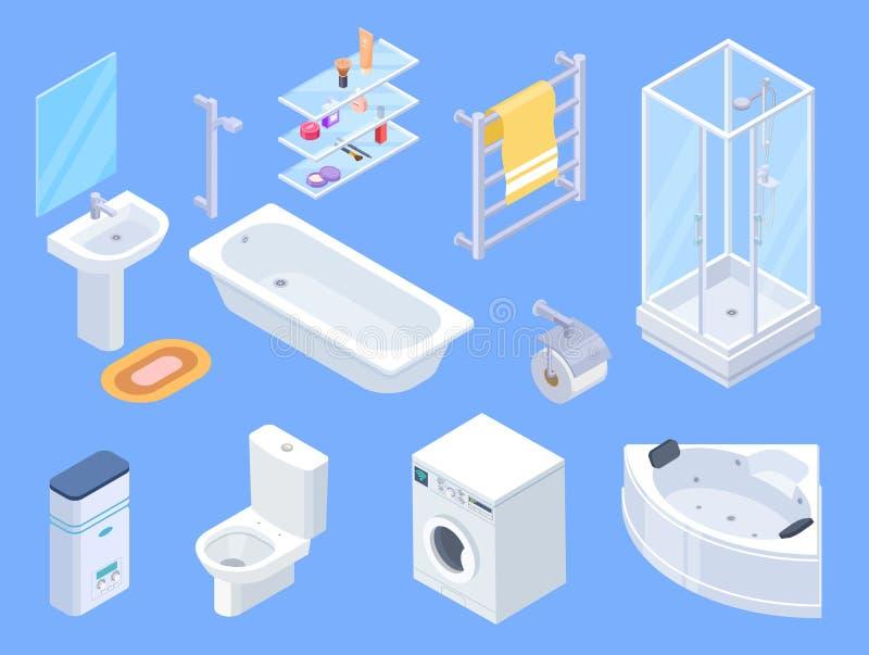 Bathroom isometric. Bathrooms interior isometrics elements, toilet water closet and towel dryer, washbasin and shower. Vector illustration vector illustration