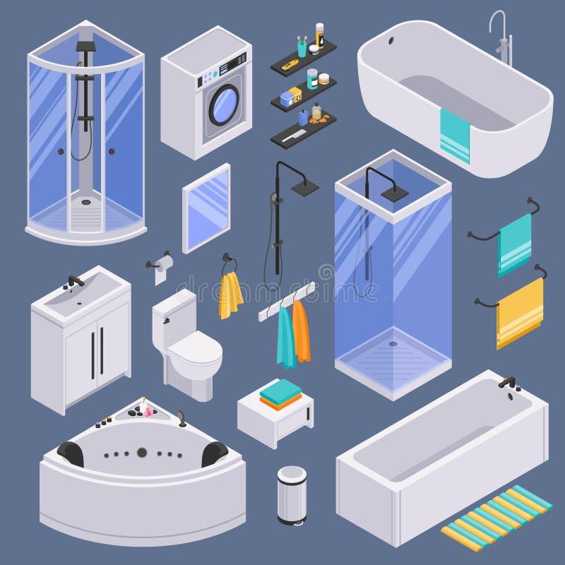 Bathroom Isometric Set Background Stock Illustration - Illustration ...
