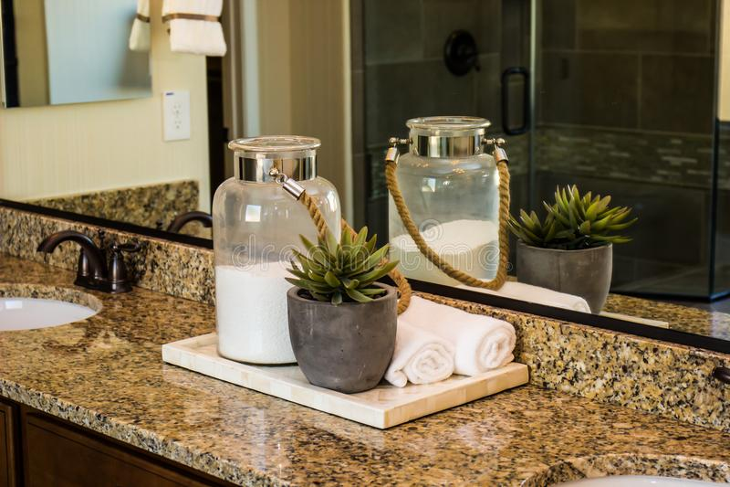 Bathroom Items On Display In Modern Bathroom royalty free stock images
