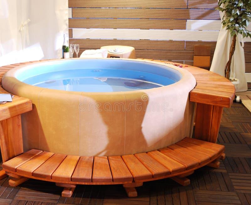 Bathroom with jacuzzi. Luxury wooden bathroom with jacuzzi royalty free stock photo