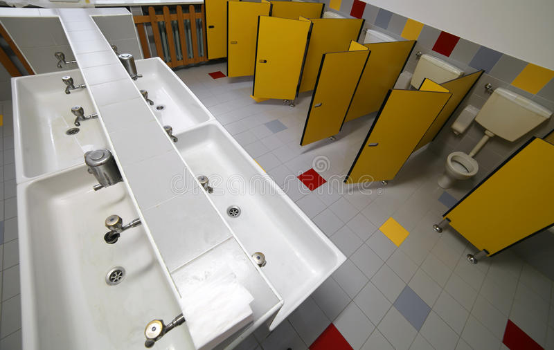 Bathroom For Kids In The Preschool Without Children Stock Photo