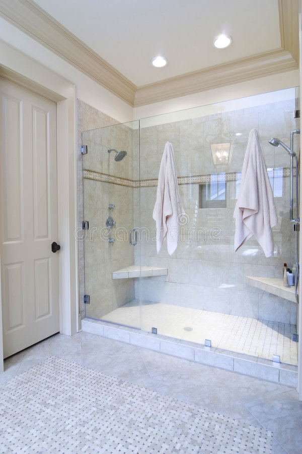 Download Bathroom with large shower stock photo. Image of room - 6208850