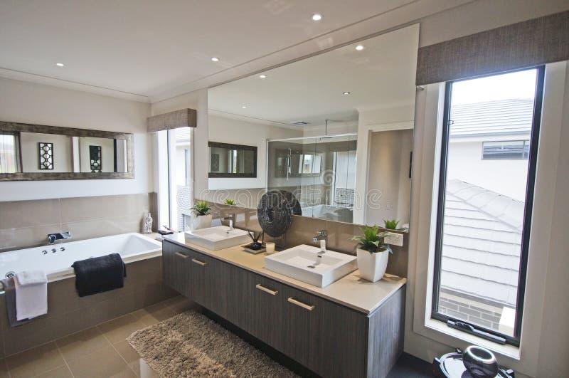 Bathroom. Metro bathroom design in exclusive house stock photography