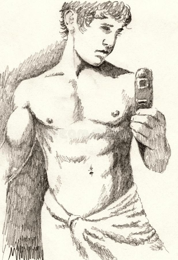 Bathroom mirror portrait stock illustration