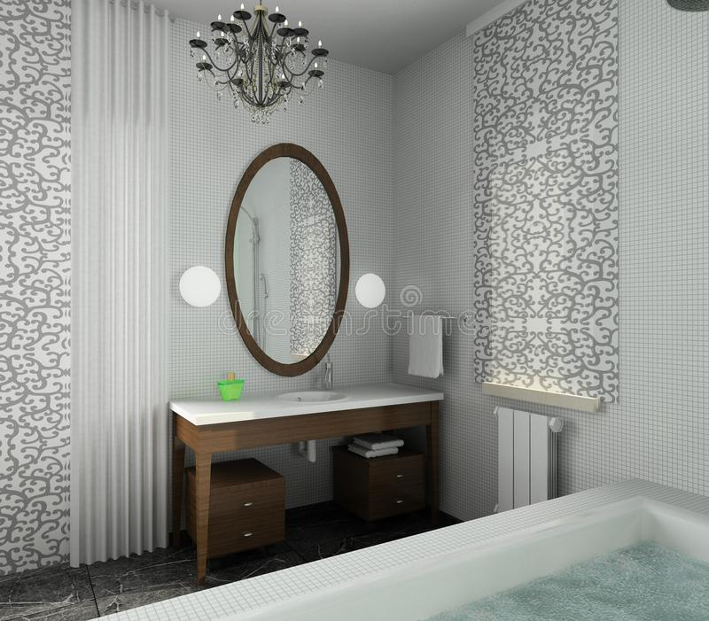 16 Attractive Window Seat Designs For Pleasant Relaxation: Bathroom. Modern Design Of Interior Stock Image