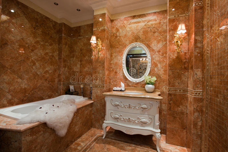 The bathroom. Modern family or hotel decoration, pay attention to the design of the bathroom stock image