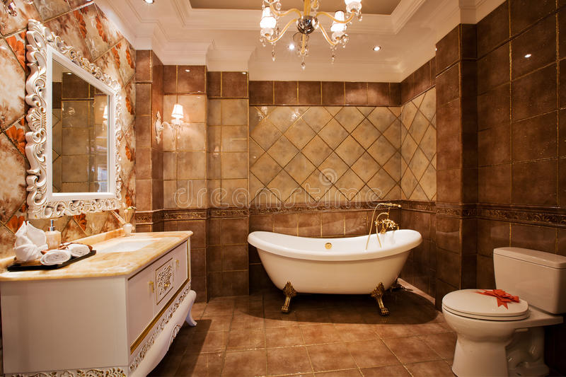 The bathroom. Modern family or hotel decoration, pay attention to the design of the bathroom royalty free stock photos
