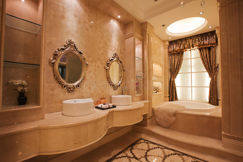 The bathroom. Modern family or hotel decoration, pay attention to the design of the bathroom royalty free stock image
