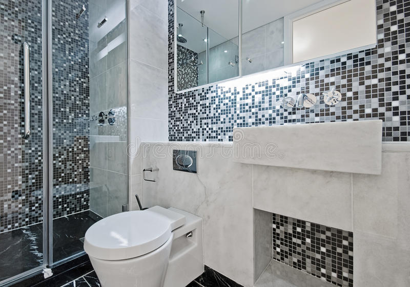 Bathroom with mosaic tiles stock photo. Image of mixer - 12028518
