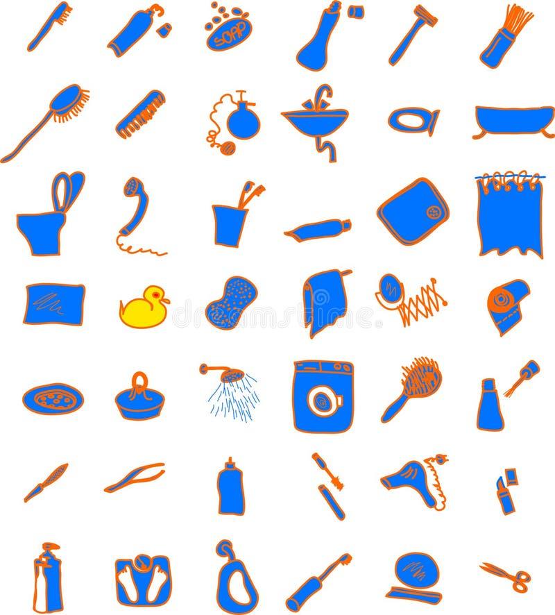 Bathroom objects royalty free illustration