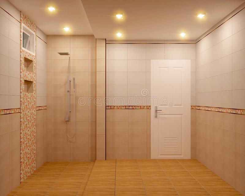 Bathroom orange tiles design and tiles mosaic design .3D rendering. Mock up Bathroom orange tiles design and tiles mosaic design .3D rendering royalty free illustration