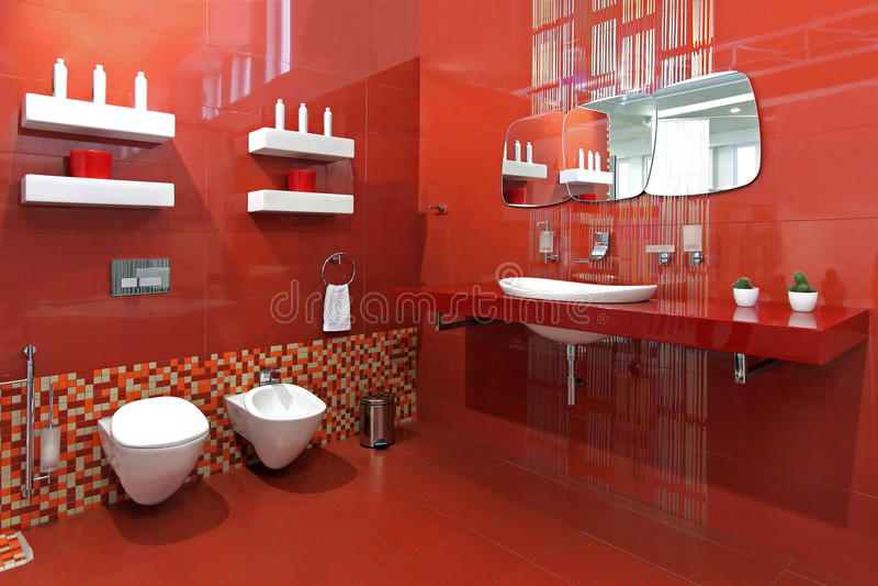 Bathroom red royalty free stock photo