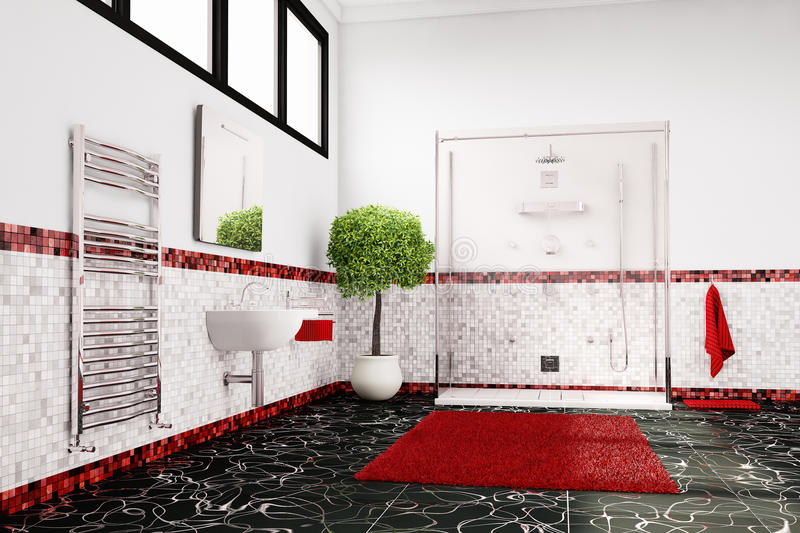 Bathroom in red, white and black stock illustration