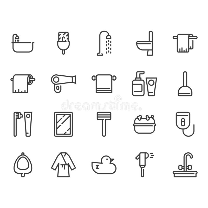 Bathroom related icon set. Vector illustration. Bathroom furniture related icon set. Vector illustration vector illustration