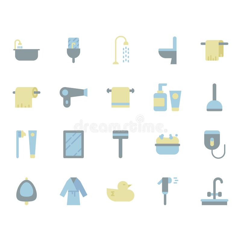 Bathroom related icon set. Vector illustration royalty free illustration