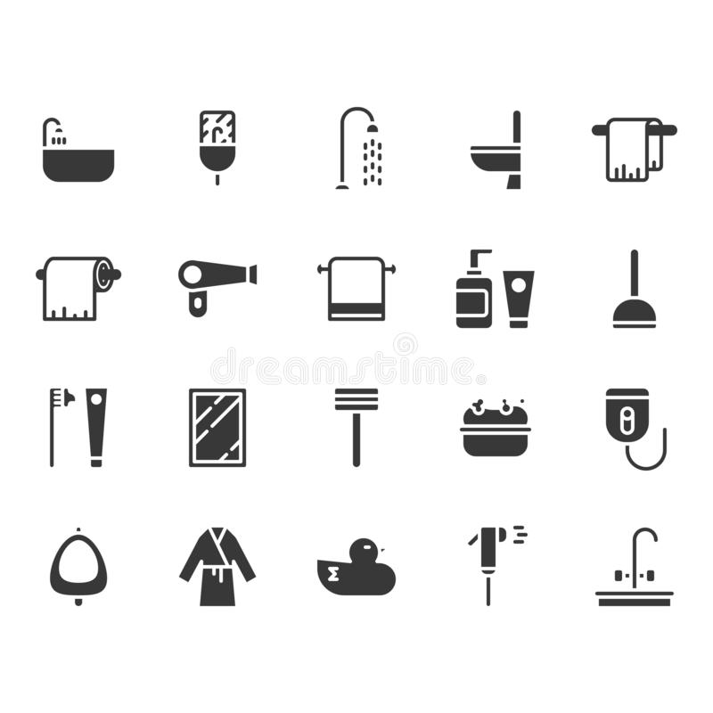 Bathroom related icon set. Vector illustration stock illustration