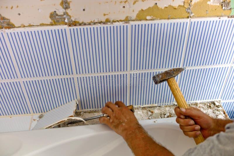 Bathroom is renvoviert stock photos