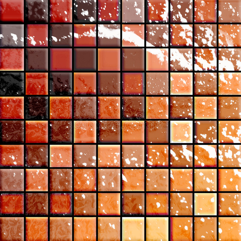 Bathroom's tiles orange and re stock illustration