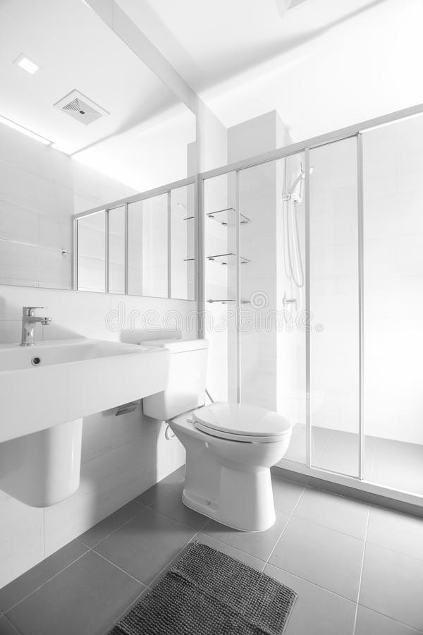 Bathroom and sanitary ware. The refurbished building looks like. A spacious reflect mirror royalty free stock photos