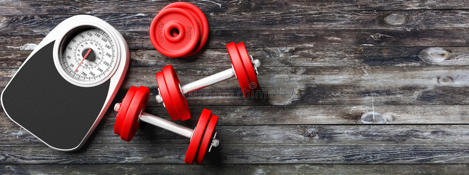 Bathroom scale, dumbbells on an old wooden floor background. Copyspace for text. 3d illustration vector illustration
