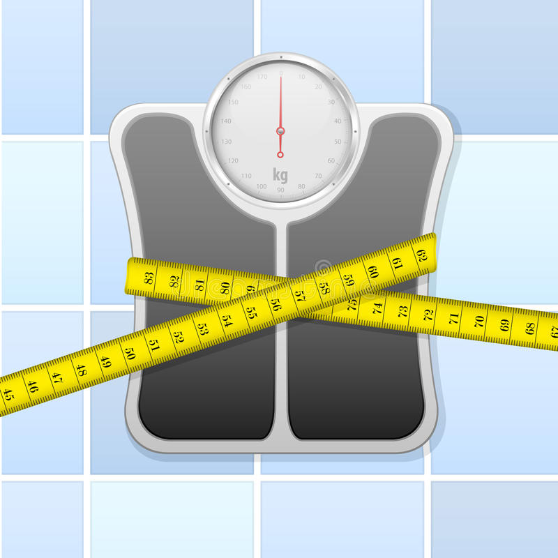Bathroom scale with measure tape royalty free illustration