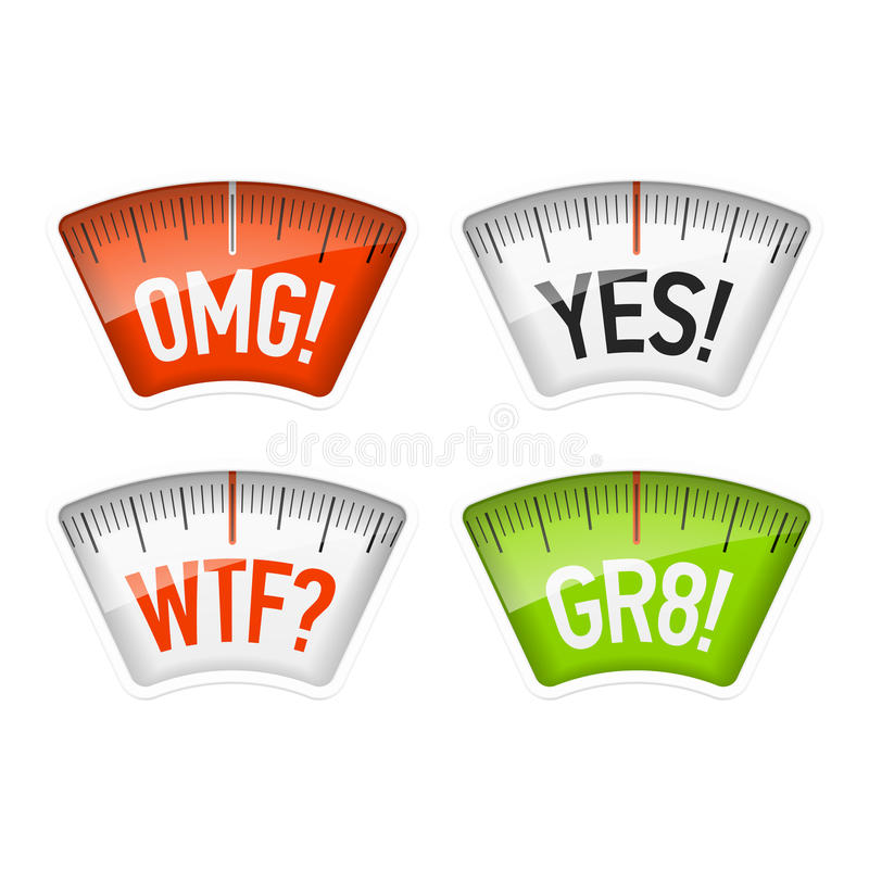 Bathroom scales displaying OMG, YES, WTF and GR8 messages. Acronyms stock illustration