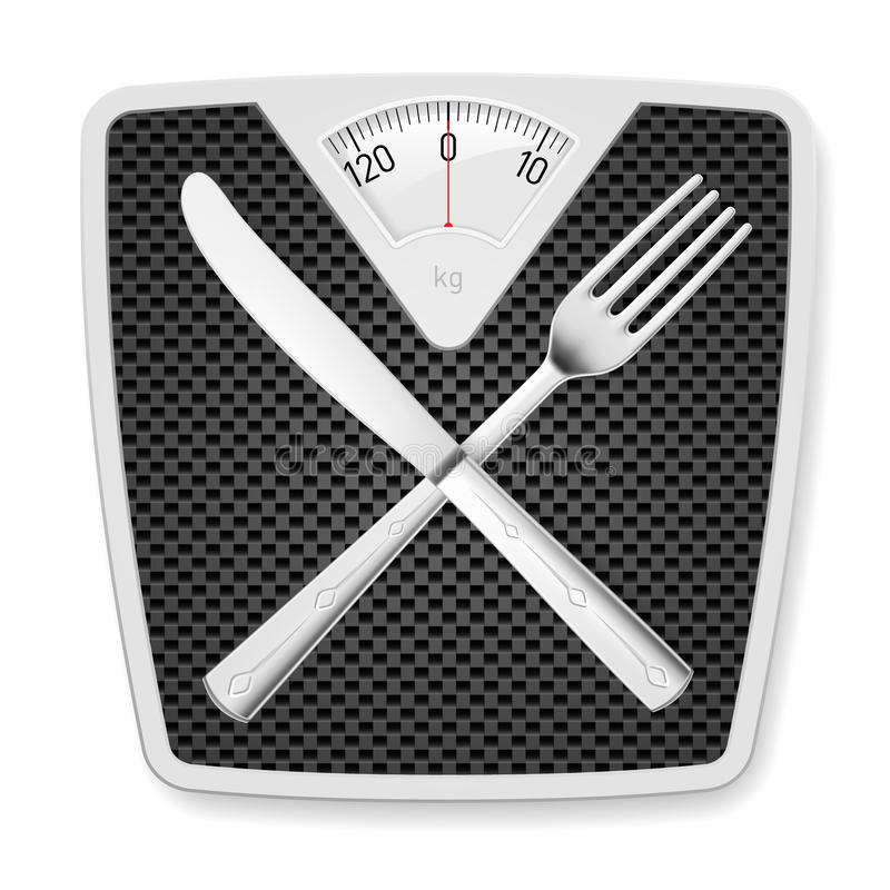 Bathroom scales with fork and knife. vector illustration