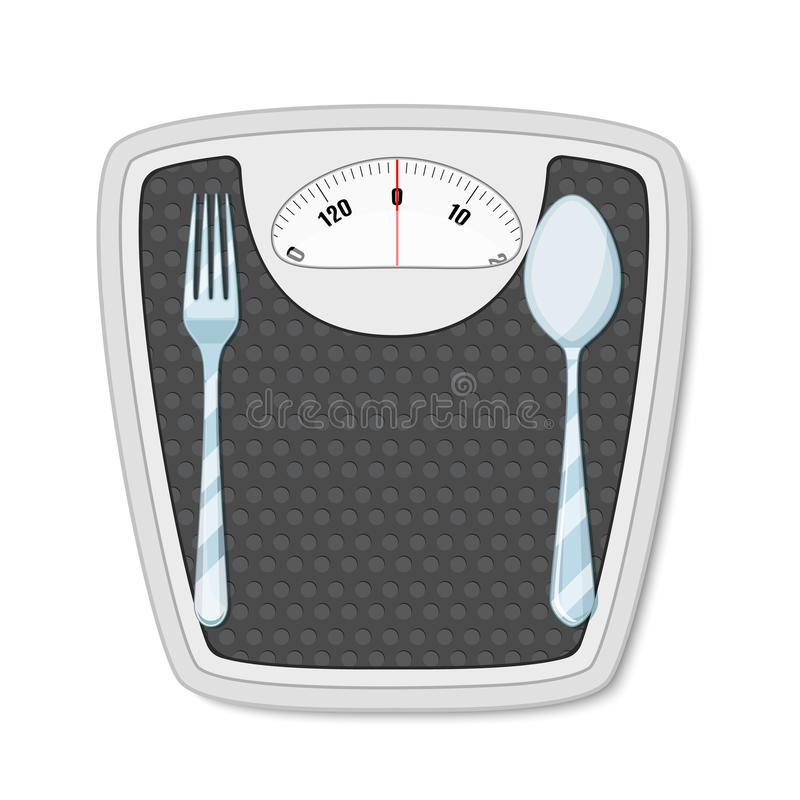 Bathroom scales with fork and spoon stock illustration