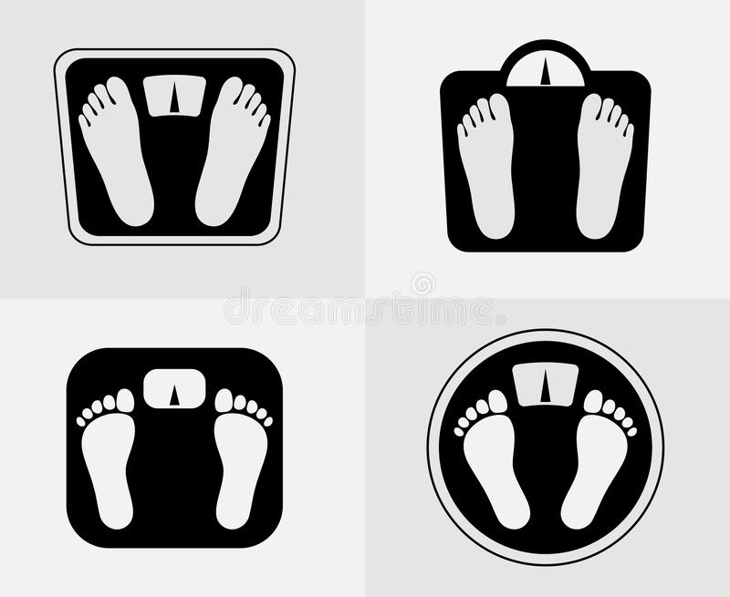 Bathroom scales icon. Weight control sign stock illustration